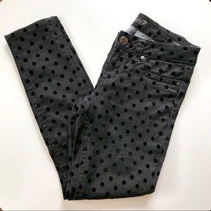 SEVEN7 Black Velvet Polka Dot Legging Jeans